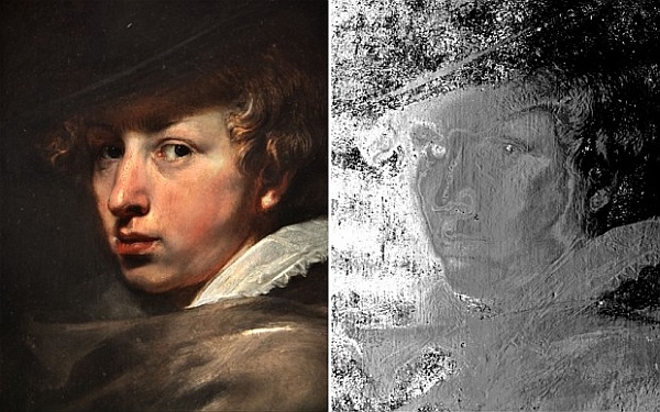 Портрет ван Дейка и результат 3D-сканирования.